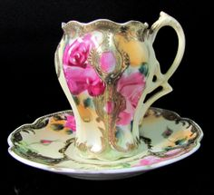 Antique NIPPON Chocolate CUP & SAUCER Hand by ShootingCreek, $95.00