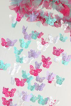 Butterfly Nursery Mobile Hot Pink Lavender by LovebugLullabies