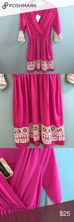 NWT Pink Lace Boutique Game Day Dress Brand new with tags. The prettiest pink color with lace detailing. Perfect for game day, grad parties, or just a cute summer dress! Size small. Sage brand. Anthropologie Dresses