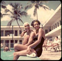 1950s bathing beauties at Miami's Lord Calvert Hotel. Shot by Sammy Davis Jr.