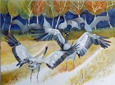 Unsere verkauften Aquarellbilder 2014 | Wenn es Herbst wird (c) ein Kranich Aquarell von Frank Koebsch #Aquarelle #watercolors #Kraniche #cranes