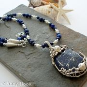 Poseidon - Under the Sea - Lapis Lazuli, pearl and silver necklace