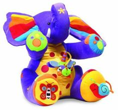 Tolo Tiny the Elephant by Tolo. $47.13. Features multiple textures and activities to encourage learning through play. Magnetized rattling snail. Features bright beautiful colors. Designed with safety and durability in mind. These plush animals feature bright, beautiful colors and multiple textures and activities to encourage a child to learn through play. From the Manufacturer                Tiny, our huggable purple elephant has crinkly ears, hands that squeak, a mirrored f...
