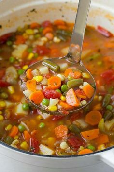 VEGETABLE SOUP (1½ HOURS~Great for the crock pot!) ½ onion chopped 4 stalks celery chopped Quart of Broth (I use Vegetable broth) ½ head of Savoy Cabbage (or regular cabbage works too if you can't find Savoy) 2 small 14oz cans of diced tomatoes, pureed. Frozen veggies: Peas, carrots, corn….your choice! I use all 3! 12 oz bag of Frozen Edamame (shelled soybeans) In a large soup pot, saute onion and celery in a few Tbsp of Olive oil til soft. Add broth and ½ head of cabbage. Simmer 30 minutes…