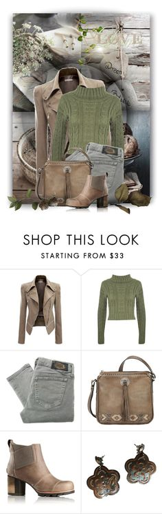 """""""Brown, Gray and Green"""" by jackie22 ❤ liked on Polyvore featuring WearAll, Diesel, SOREL and GAS Jeans"""