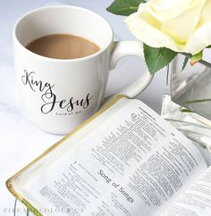 Bible Study with the King Jesus ceramic coffee mug - Christian gifts