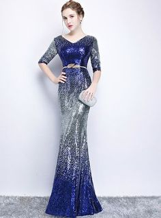 In Stock:Ship in 48 hours Mermaid Blue Sequins V-neck Short Sleeve Prom Dress Neon Prom Dresses, Short Sleeve Prom Dresses, Sherri Hill Prom Dresses, Mermaid Dresses, Sparkly Dresses, Quinceanera Dresses, Short Wedding Guest Dresses, Drape Maxi Dress, Sequence Dress