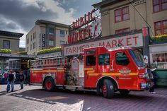A rare find to get the Seattle Fire Department front and center at the Pike Place Market. Please enjoy and consider adding to your art collection.