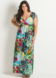 Vestido Longo Estampa Floral Plus Size - Posthaus