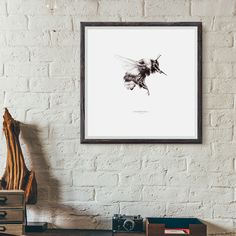Bumblebee print, pencil illustration