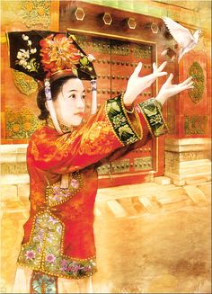 The Ancient Chinese Beauty by Der Jen - Der Jen's Art Painting - The Beauties in Qing Dynasty 14 Chinese Painting, Chinese Art, Chinese Style, Painting Art, Art Asiatique, Qing Dynasty, Ancient Art, Beautiful Paintings, Asian Art