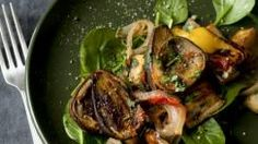 Roasted Eggplant with Bell Peppers Tomatoes and Herbs
