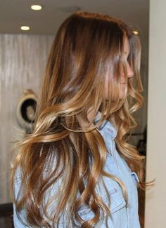 Dark blonde/light brown hair with beach waves