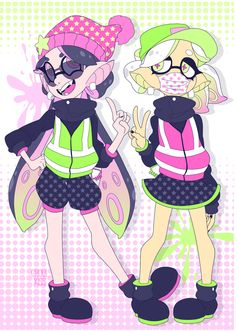 The+squid+sisters+from+the+multiplayer+shooter+Splatoon!!+Staaaaaay+fresh!  Printed+onto+A5+sized+300gsm+card.