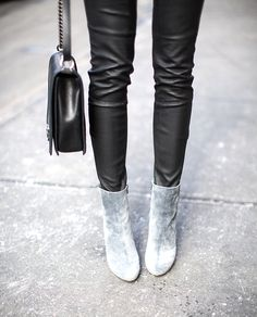 MINIMAL + CLASSIC: Christian Louboutin Booties, soft grey suede and black leather