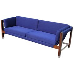 Milo Baughman Rosewood and Chrome Blue Sling Sofa | From a unique collection of antique and modern sofas at https://www.1stdibs.com/furniture/seating/sofas/