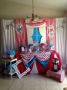 Dessert table at a Dr. Seuss birthday party! See more party planning ideas at CatchMyParty.com!