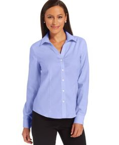 Jones New York Petite Easy-Care Button-Down Cotton Shirt