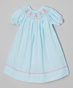Another great find on #zulily! Turquoise Bunny Seersucker Bishop Dress - Infant, Toddler & Girls by Barefoot Children's Clothing #zulilyfinds