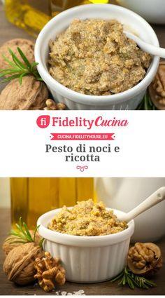 Pesto di noci e ricotta Mousse, Salsa Italiana, Italian Menu, Cooking Recipes, Healthy Recipes, Pesto Pasta, World Recipes, Antipasto, Food Illustrations