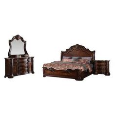 Furniture Import & Export Inc. - Barney's Traditional Walnut With Marble, California King Set - Bedroom Furniture Sets Mirror Bed, Dresser With Mirror, Marble Nightstand, 5 Piece Bedroom Set, Bedroom Sets, Master Bedrooms, Master Suite, Master Bathroom, Trash Day