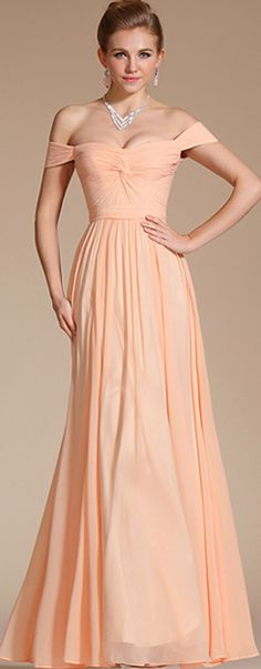 Elegant Peach Off Shoulder Bridesmaid Dress