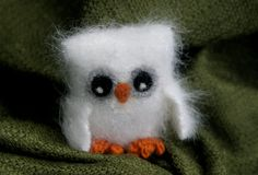 Plush fluffy white Felt Angora Wool Baby Owl natural by woolcrazy, $23.00