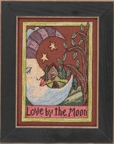 """ST303102 - Love by the Moon (2013) - Mill Hill - Sticks Kits - Everyday Series Kit Includes: Beads, 28ct linen, floss, needles, chart and instructions.  Mill Hill frame GBFRM19 sold separately Size: 5"""" x 7"""" …"""