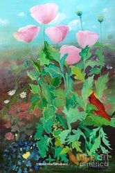 A whisper of soft pink, flowers telling tales to one another, red cardinal, little birds and butterflies listening in The original resides with an art collector