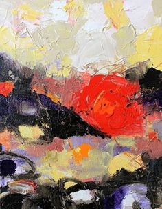 Abstract Painting ,Expressionism Art Sunset by Abstract Artist Nijole Rasmussen -- Nijole Rasmussen
