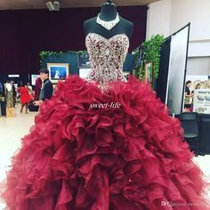 Crystal Beaded Sweetheart Bodice Corset Organza Ruffles Ball Gowns Quinceanera Dresses 2017 Burgundy Vestidos De 15 Anos Sweet 16 Prom Gowns Quinceanera Dresses Plus Size Prom Dresses Online with $184.0/Piece on Sweet-life's Store | DHgate.com