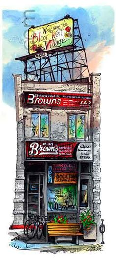 Browns Cycle, Bloor West Village, Toronto, Ontario, Canada by Artist i David Crighton Art Toronto Neighbourhoods, West Village, Abstract Images, Canadian Artists, Art And Architecture, Artsy Fartsy, Ontario, The Neighbourhood, David
