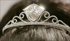 The Shizuka Diamond a tiara featuring an exceedingly rare F colour, internally flawless diamond of , set in brilliant-cut diamond extending scrolls, mounted in white gold. The diamond is from the same mine as the Cullinan. Royal Crowns, Royal Tiaras, Tiaras And Crowns, Diamond Tiara, Diamond Jewelry, Royal Jewelry, Fine Jewelry, Hair Jewelry, Jewelry Making
