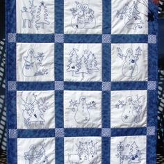 Christmas Hand Embroidery Quilt Patterns | ... RedWork Designs | Snowmen & Reindeer BlueWork Quilt - Hand Embroidery