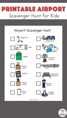 Airport scavenger hunt for kids free printable via @funwithmama #travelhacksairplanekids