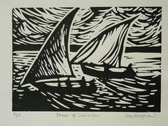 Signed linocut by Joy Shepherd title 'Dhows off Zanzibar' by Etchings Plus, via Flickr
