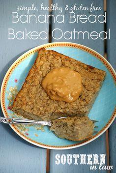 Healthy Banana Bread Baked Oatmeal Recipe - low fat, sugar free, gluten free, clean eating. Use skim milk.