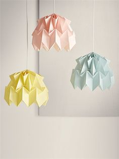SUSPENSION ORIGAMI BLEU CIEL+JAUNE PALE+ROSE PALE