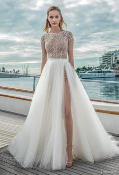 05db384aa1b1 demetrios 2019 romance bridal cap sleeves bateau neckline heavily  embellished bodice slit skirt a line wedding