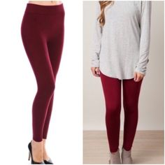 Burgundy fleece lined leggings Please do not purchase this listing. Comment and I will create a new listing for you. Seamless cozy fleece lined leggings in burgundy. Price is firm unless bundled. One size fits up to size 12 Pants Leggings