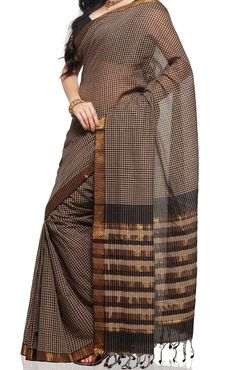 Black and Cornsilk Color Mangalagiri Cotton saree by UppadaPattu