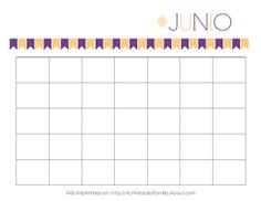 Calendarios gratis para imprimir. Hay un calendario para cada mes y puedes personalizarlos a tu gusto. Sirven para cualquier año!: Calendario de Junio