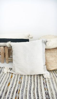 Large Moroccan POM POM pillow cover  wool natural by lacasadecoto