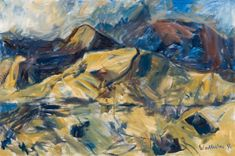 Toss Woollaston Nelson Landscape 1994 Oil on canvas Abstract Landscape, Landscape Paintings, Landscapes, New Zealand Art, Nz Art, Australian Art, Art Auction, Painting & Drawing, Oil On Canvas