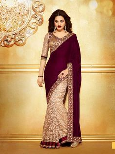 Golden Brasso with Marron Velvet Pallu saree