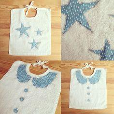 Et voilà le résultat! J'adore ce tissu bleu à petites gouttes. Et vous? #bavoir #forbaby #cousette #coutureaddict #thesistertheory #swissbloger #kidsfashion #madewithlove by thesistertheory
