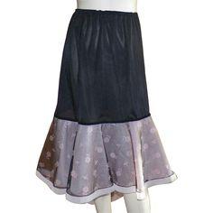 Vintage Black Nylon and Crinoline Half Slip