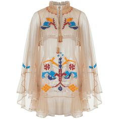 Village High Neck Dress | Moda Operandi (36.095.500 IDR) ❤ liked on Polyvore featuring dresses, beige dress, high neck dress and high neckline dress