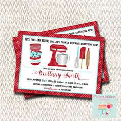 Kitchen Bridal Shower Invitation and Recipe Card by PerfectHostess