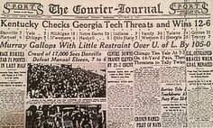 Louisville Courier Journal, Oct. 9, 1932, check that score-Murray 105 - Louisville 0
